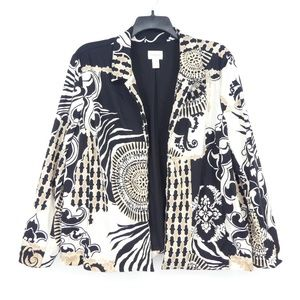 Chicos Open Front Printed Stretch Blazer Jacket